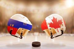 Rivalidade famosa do hóquei em gelo entre Rússia e Canadá Fotos de Stock