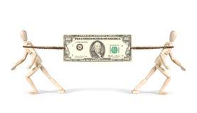 Rivalidade no negócio Dois homens de negócios puxam um dólar em sentidos diferentes Fotografia de Stock