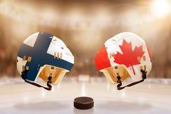 Rivalité célèbre de hockey sur glace entre la Finlande et le Canada Photographie stock