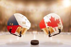 Rivalité célèbre de hockey sur glace entre la République Tchèque et le Canada Images stock