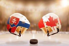 Rivalité célèbre de hockey sur glace entre la Slovaquie et le Canada Photos libres de droits