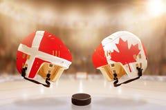 Rivalité célèbre de hockey sur glace entre le Danemark et le Canada Images libres de droits