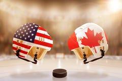 Rivalité célèbre de hockey sur glace entre les Etats-Unis et le Canada Photos libres de droits