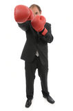 Rivalry business. Boxing businessman business rivalry metaphor Royalty Free Stock Photo