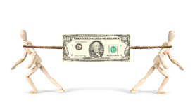 Rivalry in business. Two businessmen pull a Dollar in different directions Stock Photography