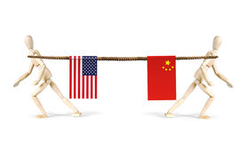Rivalry of China and USA Stock Photos