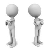 Rivalry. Concept, two competitors or rivals facing a stand off, little man folding hands and standing looking away in attitude, white background Stock Image