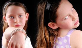 Rivalry Between Girls Stock Images
