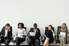 Nervous stressed job applicants preparing for interview waiting stock images