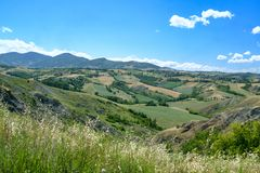 Rivalta di Lesignano Parma, Italien: Sommerlandschaft lizenzfreie stockfotos