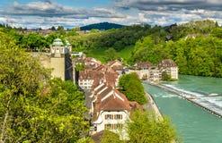 Rive de la rivière d'Aare à Berne Images libres de droits