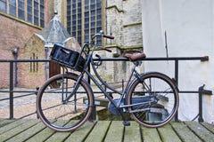 Rivel T620 Vintage bike against a railing, Gouda, Netherlands Stock Images