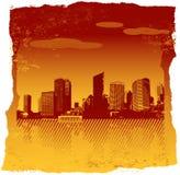 riven orange paper red för stad stock illustrationer