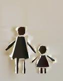Riven sönder pappers- samling, lycklig förälder och barn Royaltyfri Bild