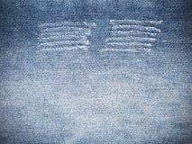 Riven sönder sönderriven modell av blå grov bomullstvilljeans textur och bakgrund Royaltyfria Foton