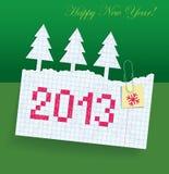 Riven skrivbok i asken med datumet p 2013 stock illustrationer