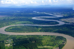 River. A view of the Rejang River from the sky over Borneo island Royalty Free Stock Image