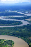 River. A view of the Rejang River from the sky over Borneo island Stock Photo