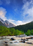 River. On background of the mountains. Natural composition Royalty Free Stock Images