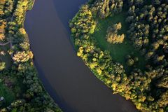 River. Curve from sky in a sunset Royalty Free Stock Photography