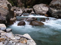 River. Cold river with stones in Nepal Stock Photos