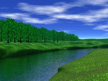 RIVER. 3d landscape - green meadow,trees and river over blue sky with white clouds Stock Images