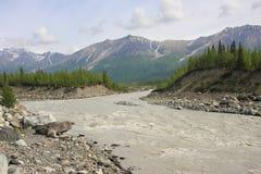 River. Fast running river in Wrangell National Park, Alaska Stock Image