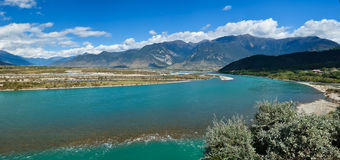 The river. The beautiful scenery of the Niyang River at Nyingchi County of the Tibetan plateau Royalty Free Stock Images