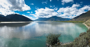 The river. The beautiful scenery of the Niyang River at Nyingchi County of the Tibetan plateau Royalty Free Stock Photography
