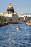 River. View of Moyka river with St.Isaak cathedral in St.Petersburg, Russia stock photography