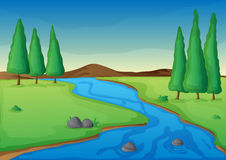 River. Illustration of a river in a beautiful nature Stock Photography