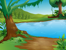 A river. Illustration of a river in a beautiful nature Stock Images