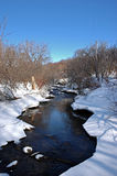 River. Charming winter river across the snow, Quebec Royalty Free Stock Photo