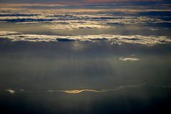 River. Clouds and river from the airplane Stock Image