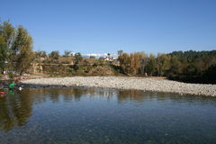 River. This is the river with the himalayas in the backdrop Royalty Free Stock Photography
