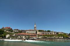 River Aare, Bern. A view of the Munster Cathedral from the Aare river, Bern stock photo