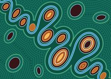 River, Aboriginal art vector painting royalty free stock photography
