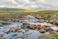 River acroos the Hardangervidda plateau in Norway Royalty Free Stock Photo