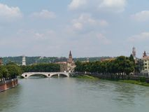 The river Adige along the historical Verona Stock Images