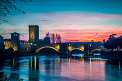 The river Adige that crosses Verona at Sunset Royalty Free Stock Image