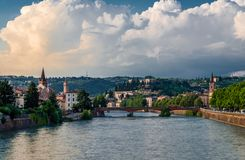 River Adige, in Verona. stock photo