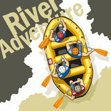 River Adventure. On rough mountain river in a yellow inflatable boat rafting sit four men in helmets and life jackets. People are holding paddles and work Royalty Free Stock Photo