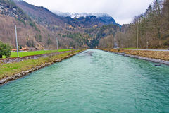River Aera at the entrance to Aare Gorge - Aareschlucht. Near the town of Meiringen, in the Bernese Oberland region of Switzerland stock photos