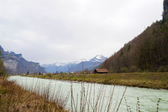 River Aera at the entrance to Aare Gorge ,Switzerland. Royalty Free Stock Photography