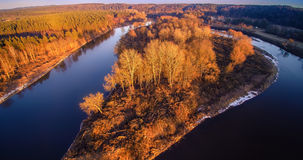 River aerial view. River Neris aerial view at sunset light, Lithuania Royalty Free Stock Image