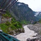 River Alaknanda at Govindghat, Uttarakhand, India. Govindghat is a starting point for treks to Valley of Flowers and to Hemkund Sahib in Uttarakhand. It is Royalty Free Stock Images