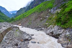 River Alaknanda at Govindghat2, Uttarakhand, India. Govindghat is a starting point for treks to Valley of Flowers and to Hemkund Sahib in Uttarakhand. It is Royalty Free Stock Image