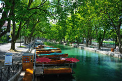 River alley. Small boat harbour at the lake d'Annecy in the french alps Stock Image