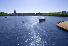 The river Alster lake, Hamburg. View across the Alster lake at Hamburg with steamboats royalty free stock photography