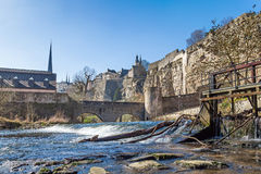 River Alzette and the fortification in Luxembourg Royalty Free Stock Photography